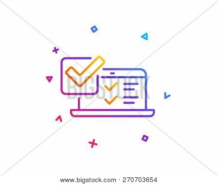 Online Survey Line Icon. Select Answer Sign. Web Interview Symbol. Gradient Line Button. Online Surv