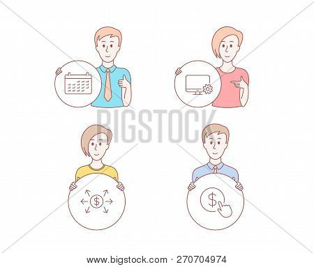 People Hand Drawn Style. Set Of Calendar, Monitor Settings And Dollar Exchange Icons. Buy Currency S