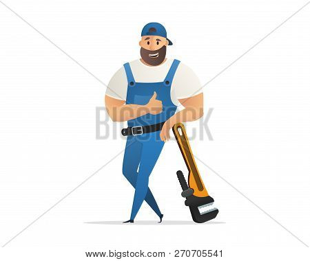 Vector Illustration Concept Plumber Service . Vector Image Cartoon Character Plumbing Based On Large