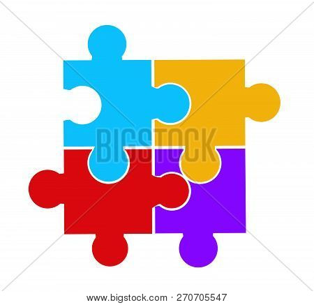 Vector Illustration Of Puzzle Pieces On White