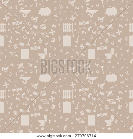 Illustration Pattern Concept Plumbing Fixture. Vector Cartoon Seamless Image Set Silhouette Working Tool Plumbing Company Worker Isolated on Beige Background. Concept gift Wrapping, cards poster