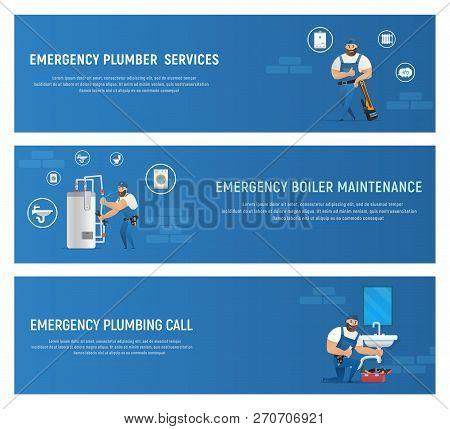 Vector Illustration Concept Plumber Service. Set Vector Banner Cartoon Emergency Plumber Services, E