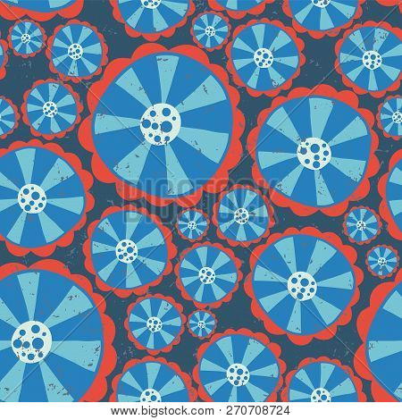 1970s Hippie Flowers. Flower Power Seamless Vector Background. Blue And Red Abstract Distressed Flow