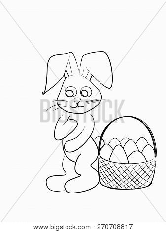 Easter Coloring. Black And White Raster Illustration For Coloring Book.easter Bunny With A Basket Wi