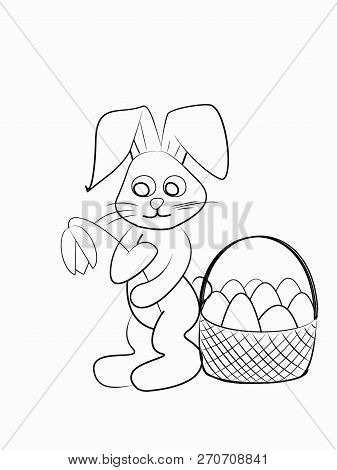 Easter Coloring. Black And White Raster Illustration For Coloring Book.easter Bunny With A Tulip And