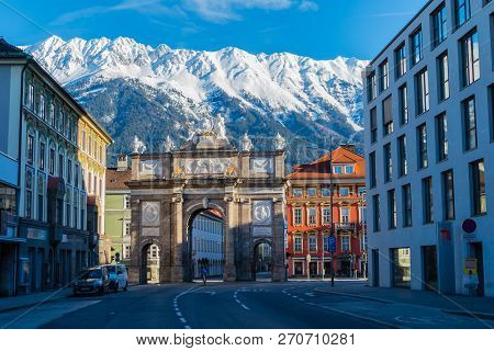 City Of Innsbruck Alps With Snow Austria Europe