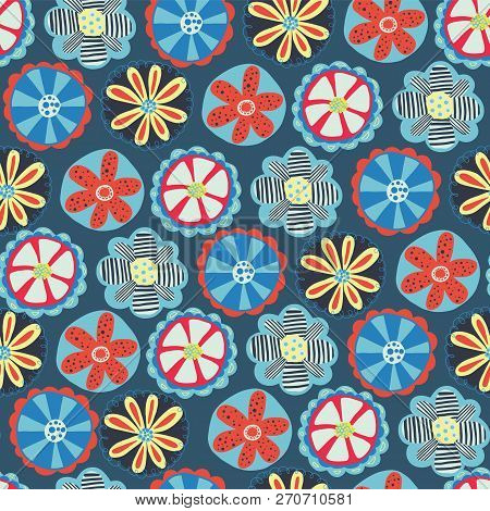 Retro Florals Seamless Vector Background. 1960s, 1970s Flower Design. Red, Blue, And Yellow Doodle F