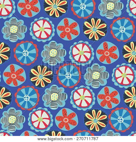 Retro Flower Seamless Vector Background. 1960s, 1970s Floral Design. Red, Blue, And Yellow Doodle Fl