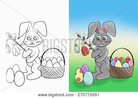 Easter Coloring.  Black And White Raster Illustration And Colorful Illustration Coloring Book For Ki