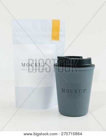 Packaging mockup for a coffee shop