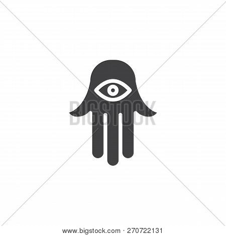 Jewish Hamsa Hand Vector Icon. Filled Flat Sign For Mobile Concept And Web Design. Hamesh Simple Sol