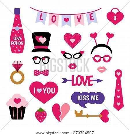 Valentines Day Photo Booth Props Photobooth Set