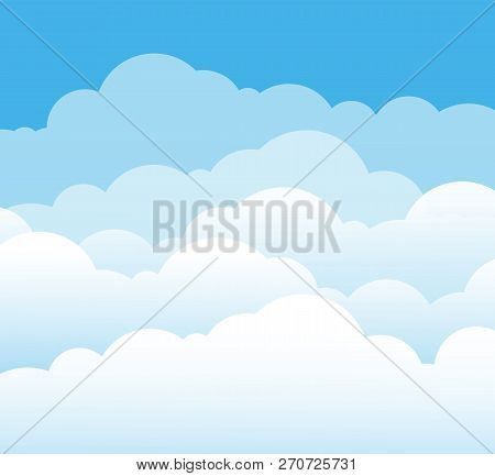Sky And Clouds. Cartoon Cloudy Background. Heaven Scene With Blue Sky And White Cloud. Vector Illust