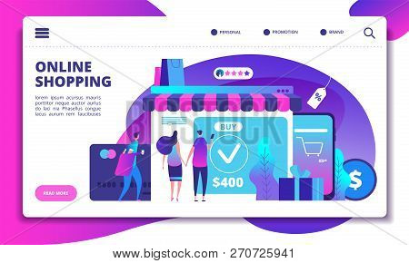 Online Shopping Concept. Modern Payment Technology With Mobile Phone In On-line Shop. Website Design