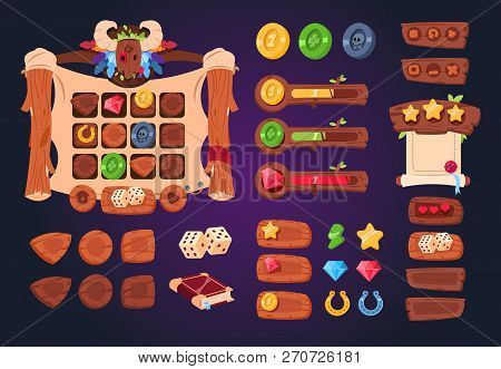 Cartoon Game Ui. Wooden Buttons, Sliders And Icons. Interface For 2d Games, App Gui Vector Design. G