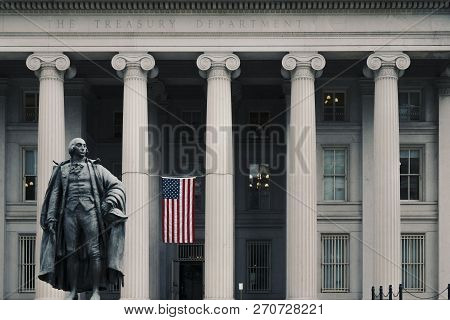 Washington Dc, June 2017, United States: Albert Gallatin Statue In Front Of The Northern Entrance To