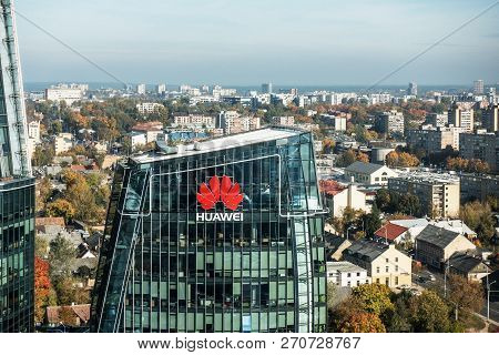 Vilnius, October 10, 2018: Huawei Logo On A Building In Vilnius, Lithuania. Huawei Is Leading Global