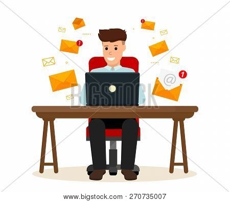 Business Character Sitting The Desk. Office Worker Receives And Sending A Lot Of Emails. E-mail Mark
