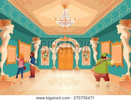 cartoon museum exhibition with pictures and visitors in royal ballroom with atlas columns. Art gallery with sculptures, excursion. Ancient hall interior, exposition background poster