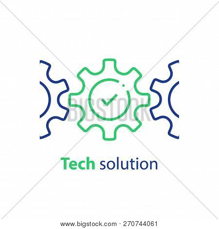 Integration Concept, Technology Solution, Cogwheel And Check Mark, System Compliance, Business Autom