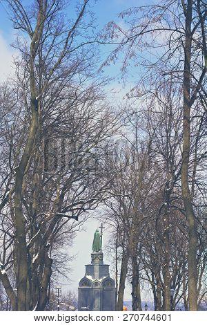Kiev, Ukraine - February, 2018. Monument To Vladimir In Kiev In The Winter. Saint Vladimir Monument