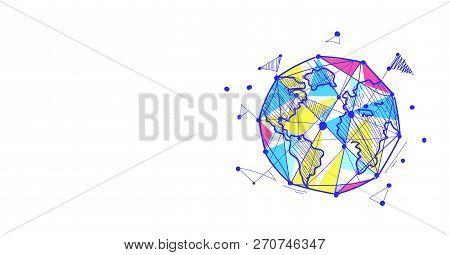 Globe Logo Colorful World Map Sketch Doodle Horizontal Isolated Flat