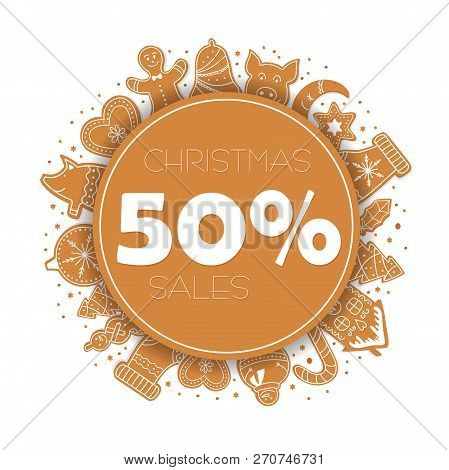 Banner Christmas Sale With Gingerbread Cookies