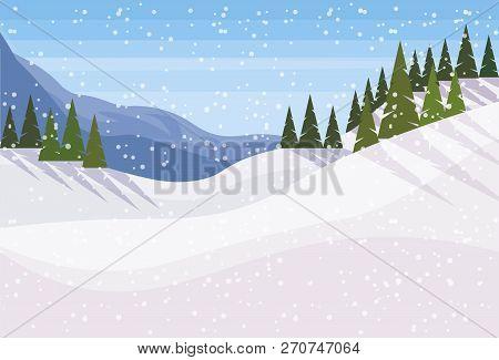 Winter Snowy Mountain Fir Tree Forest Landscape Background Horizontal Flat