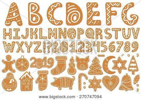 Set Of Alphabet Holidays Gingerbread Cookies