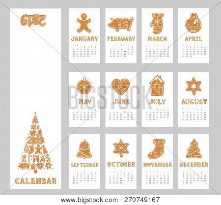 Pig Calendar For 2019 With Gingerbread Cookies Figures