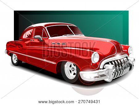 Vector Illustartion Vintage Red Car. Retro Car