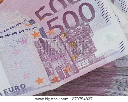Red German 500 Euro Notes In A Stack