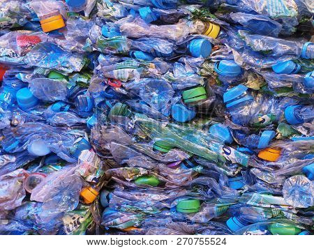 Nuremberg, Germany - November 13, 2018: Crushed Plastic Bottles For Recycling