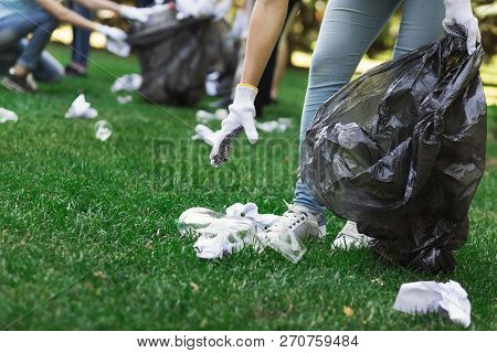 Environmentalists Cleaning Park, Collecting Garbage From Grass, Ecology Concept, Copy Space