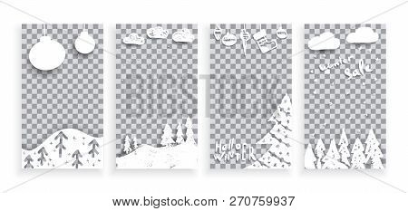 Set Of Merry Christmas And Happy New Year Template Mobile Social Stories