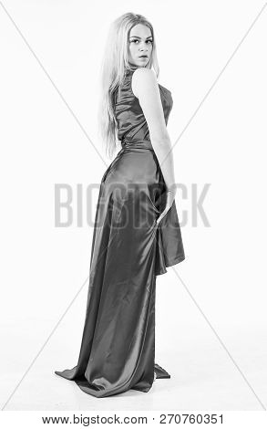 Luxury Outfit Concept. Lady Wears Fashionable Dress For Visiting Event. Dress Rent Service, Fashion