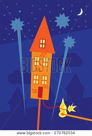A Vector Illustration Of A Rocket Firework In The Form Of A House With The Touch Paper Being Lit Rea