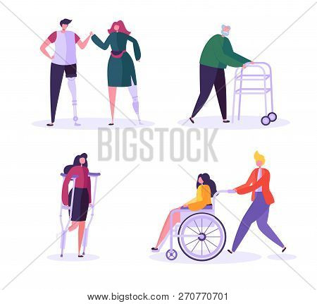 Disabled People Characters. Woman In Wheelchair With Careful Man. Patients With Disabilities, Girl O