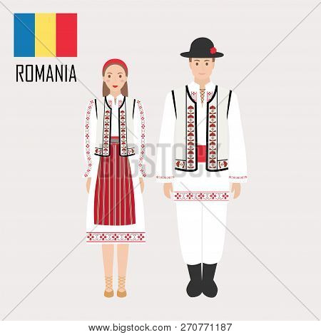Romanian Man And Woman In Traditional Costumes. Romania Symbol. Vector Illustration
