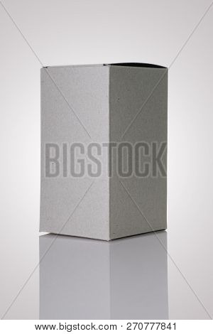 Recycled Texture Paper Box On Grey Background