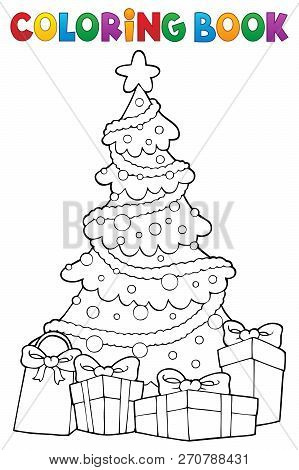 Coloring Book Christmas Tree And Gifts 2 - Eps10 Vector Picture Illustration.
