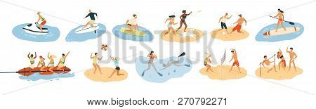 Set Of People Performing Summer Sports And Leisure Outdoor Activities At Beach, In Sea Or Ocean - Pl