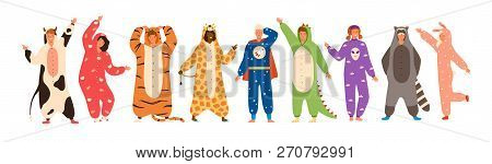 Bundle Of Men And Women Dressed In Onesies Representing Various Animals And Characters. Set Of Peopl