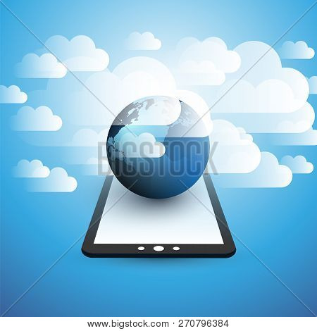 Cloud Computing Design Concept - Digital Connections, Technology Background With Electronic Device,