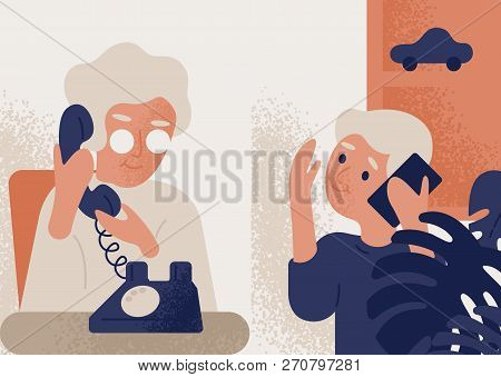 Cute Smiling Old Lady Talking On Phone To Little Boy. Granny And Grandson Communicating Through Tele