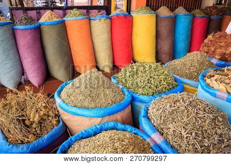 Several Different Colourful Spices In Marrakesh, Morocco