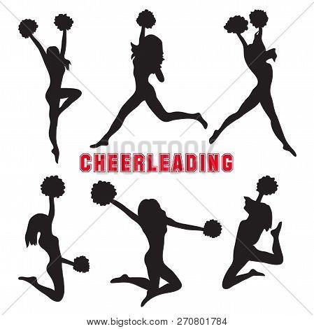 Set Of Silhouettes Of Cheerleaders