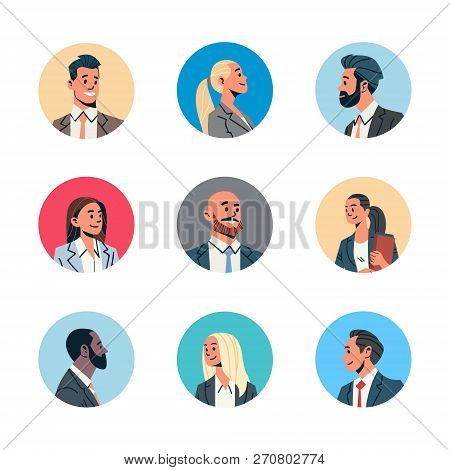 Set Different Business People Avatar Man Woman Face Profile Icon Concept Online Support Service Fema