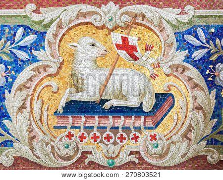 Braunschweig, Germany - April 5, 2011: Lamb Of God (agnus Dei) Mosaic In The Martini Church In Braun