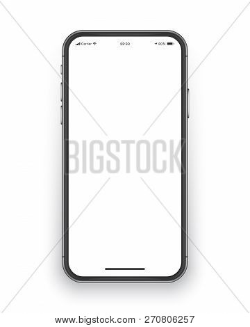 Photo Realistic Frameless Smartphone Screen Vector Mockup Isolated on White Background for Mobile Application, Web Site, Game, Presentation UI UX Design Template